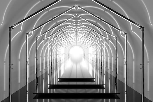Podio gris brillante túnel hexagonal. fondo abstracto. etapa de reflexión de luz. luces de neón geométricas. ilustración 3d