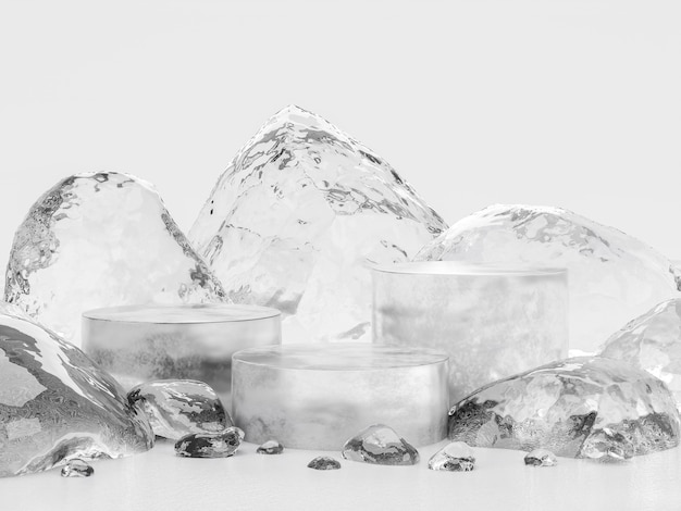 Podio de hielo para la visualización del producto 3d render, rodeado de piedras de hielo sobre fondo blanco.
