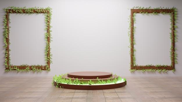 Podio con hojas en la terraza con par de marcos de fotos en la pared blanca