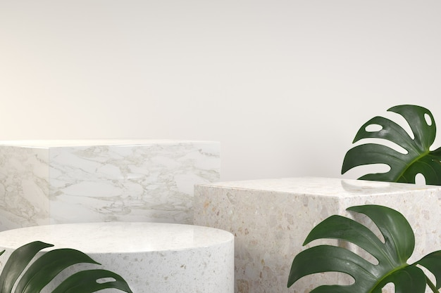 Podio de lujo moderno con planta tropical monstera. render 3d