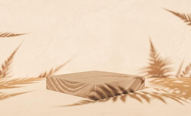 Podio de madera para exhibición de productos con sombras de helechos
