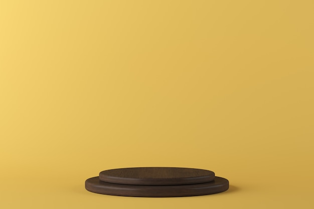 Podio de madera de la forma abstracta de la geometría en el fondo amarillo para el producto. concepto minimalista representación 3d