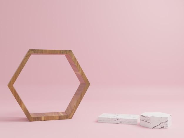 Podio de madera con pedestales de mármol alrededor con un fondo rosa.