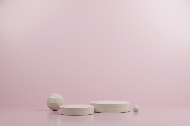 Podio de maqueta moderna de círculo simple de mármol y esfera de ico con fondo rosa