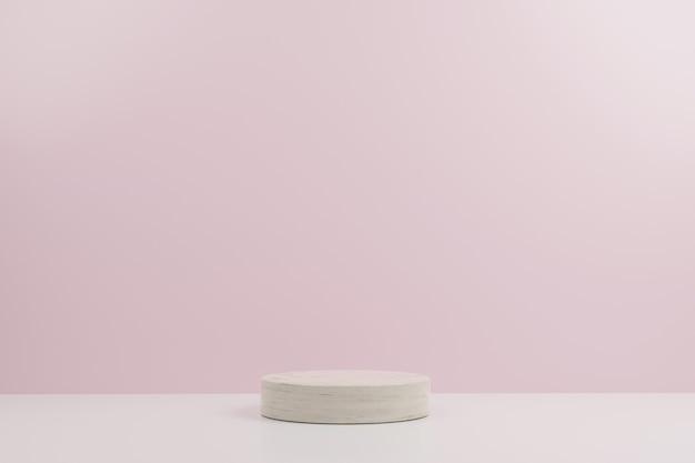Podio de maqueta moderna de mármol simple círculo con fondo rosa