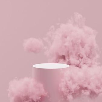 Podio de maquetas 3d en nubes rosadas sobre un fondo rosa.