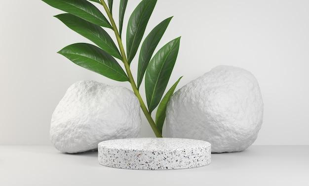 Podio de mármol básico con hojas