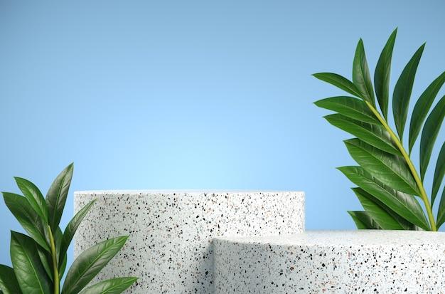 Podio de mármol blanco con hojas