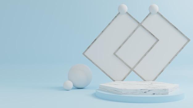 Podio de mármol para colocar productos con fondo azul.