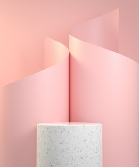 Podio de mármol con curva en espiral de papel rosa