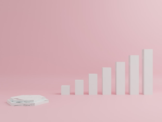 Podio de mármol en forma geométrica, con fondo rosa.