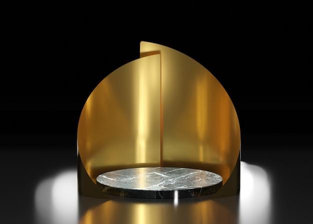 Podio de mármol negro entre un entorno dorado sobre una mesa negra, 3d render