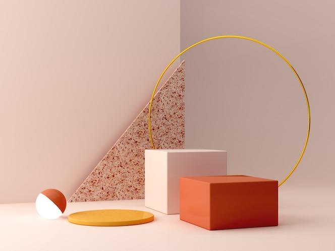 Podio mínimo en colores ocres. escena con formas geométricas. anillo de oro, pared de terrazo, esfera con luz y cajas. naranja y amarillo, escena de otoño.