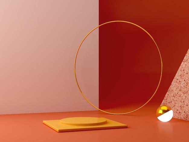 Podio mínimo en colores ocres. escena con formas geométricas. anillo de oro, pared de terrazo, esfera con luz y cajas.
