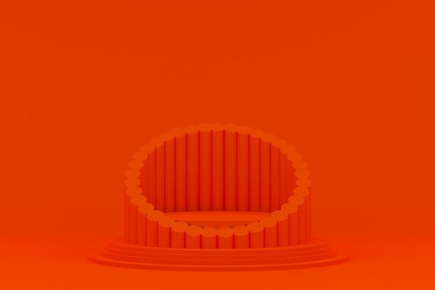 Podio mínimo sobre fondo naranja para presentación de productos cosméticos.