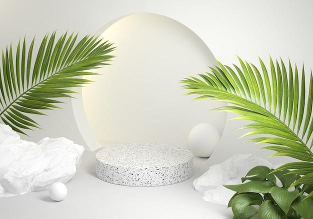 Podio moderno de mármol blanco con hojas de palmera