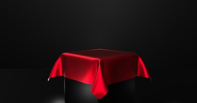 Podio negro vacío cubierto con tela de seda roja. representación 3d