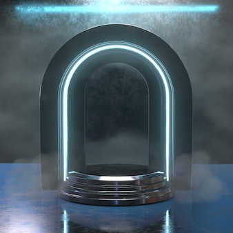 Podio de neón de renderizado 3d negro futurista