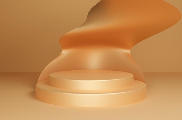 Podio de oro de renderizado 3d