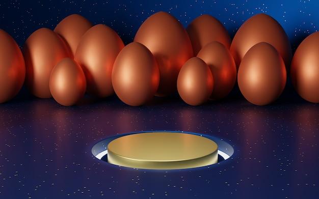 Podio de oro sobre una mesa azul al grano. render 3d de huevos de pascua naranja