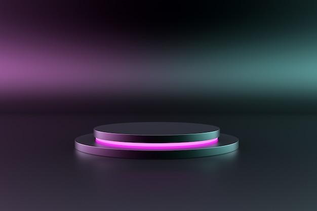 Podio oscuro y rosa aislado sobre un fondo futurista