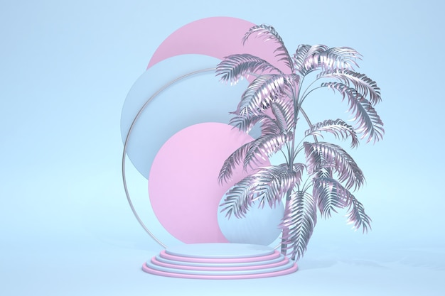 Podio de pedestal de cilindro azul abstracto, habitación vacía de color azul pastel claro con hoja de palma abstracta. representación 3d de forma geométrica, presentación de visualización del producto. escena de pared mínima de habitación rosa azul pastel.
