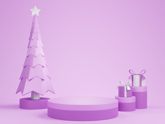 Podio de pedestal de cilindro púrpura 3d abstracto con árbol de navidad y regalos