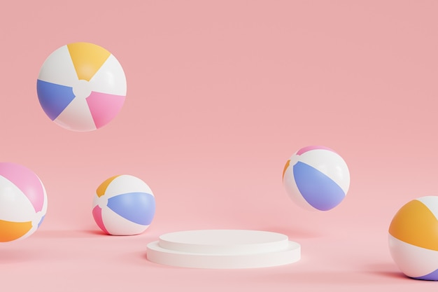Podio con pelotas de playa inflables sobre superficie rosa