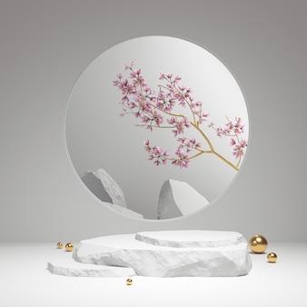 Podio de piedra de exhibición de producto mínimo con flores en flor sobre fondo blanco. representación de la escena 3d