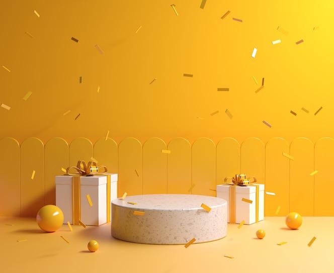 podio de piedra de maqueta de concepto amarillo mínimo con caja de regalo y cinta cayendo fondo 3d render