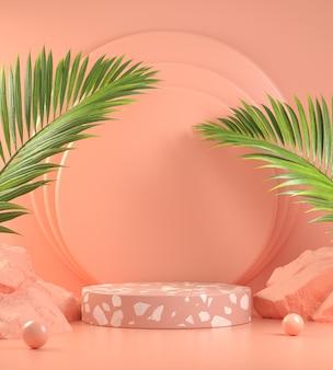 Podio de piedra rosa con hojas de palmera
