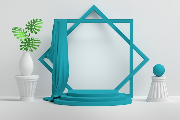 Podio de presentación con espacio en blanco vacío y flores en florero, tela azul, pedestales