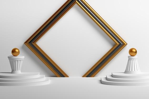 Podio de presentación geométrica minimalista simple con formas básicas, marcos, pilares, esferas en colores blanco dorado.