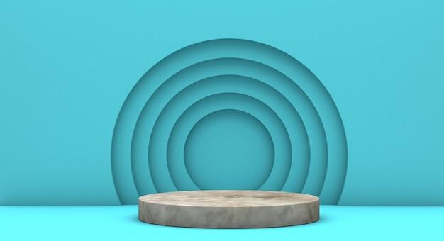Podio para presentación de producto con círculos amarillos, fondo de render 3d