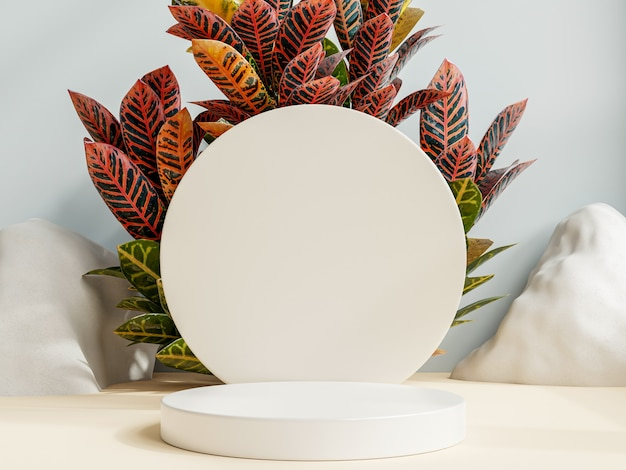 Podio de presentación de productos con fondo de color crema representación 3d