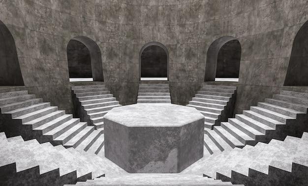 Podio de producto mínimo con escaleras dentro de una sala de hormigón con arcos