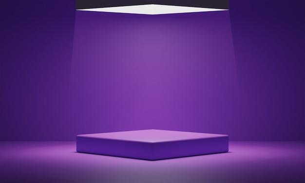 Podio púrpura vacío y fondo claro.