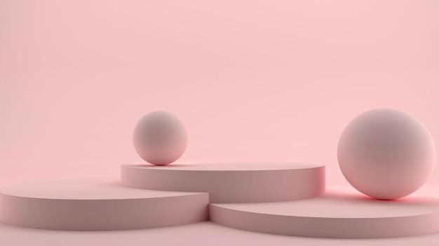 Podio redondo, pedestal o plataforma, fondo rosa para presentación del producto.