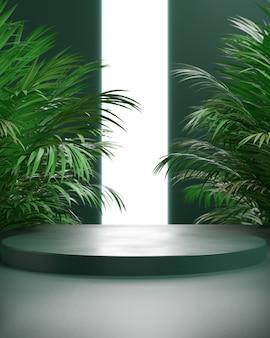 Podio de render 3d con palma de hoja y fondo verde, fondo abstracto, luz de neón blanca, pantalla o escaparate.