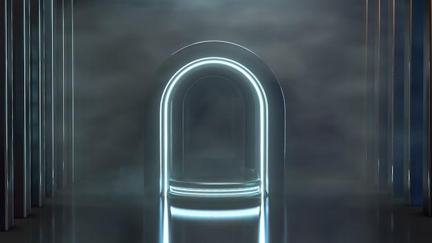 Podio de renderizado 3d de luz de neón futurista con fondo negro