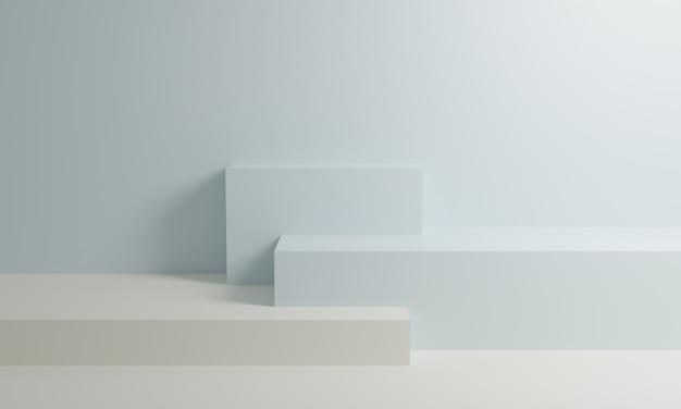 Podio de representación 3d blanco y azul en la pared de fondo