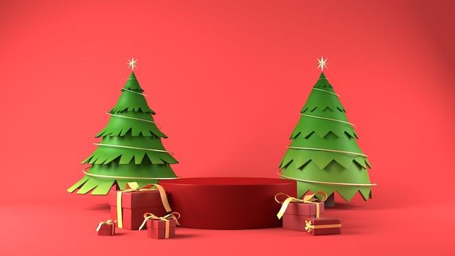 Podio rojo para la colocación de productos en tema navideño