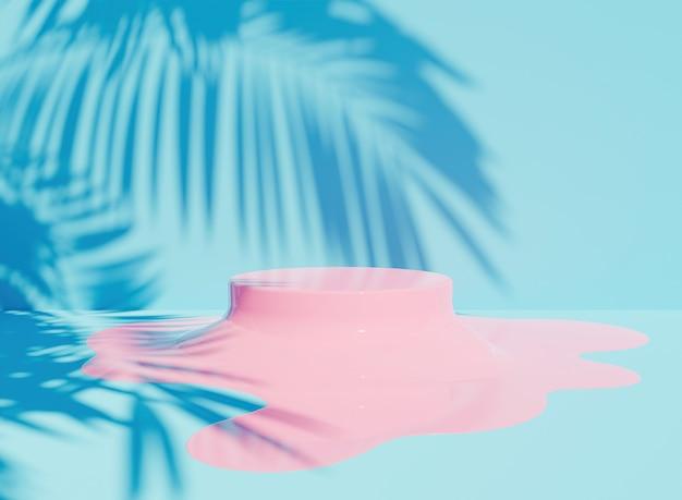 Podio rosa derretido sobre fondo azul con sombra de palmera. representación 3d