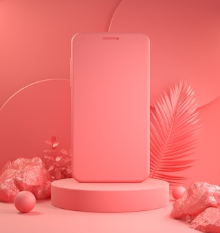 Podio de teléfono inteligente de dispositivo de plantilla para presentación con render 3d de fondo de escena tropical rosa