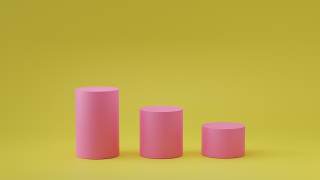 Podio vacío del cilindro de los pasos en fondo vacío. representación 3d.