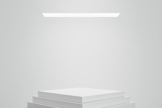 Podio vacío o pedestal sobre fondo blanco con concepto de soporte de caja.