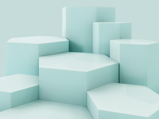 Podio verde de la exhibición del producto de lihgt, fondo abstracto