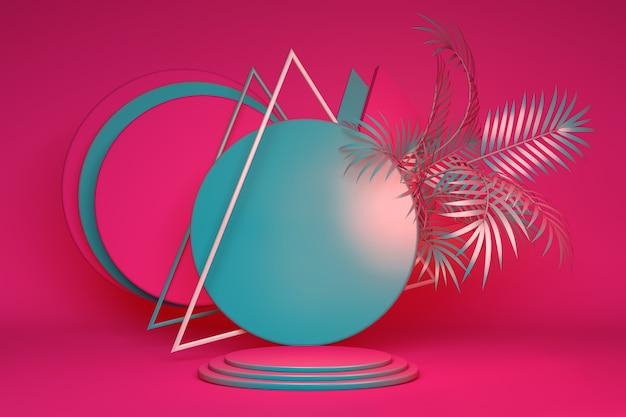 Podio verde rosa 3d sobre fondo brillante y hoja de árbol abstracto. plataforma de promoción de productos de vacaciones de verano mínimo. pantalla de renderizado 3d brillante y espacio de copia.