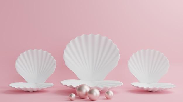 Podio de vieira blanca con perlas sobre un hermoso fondo rosa