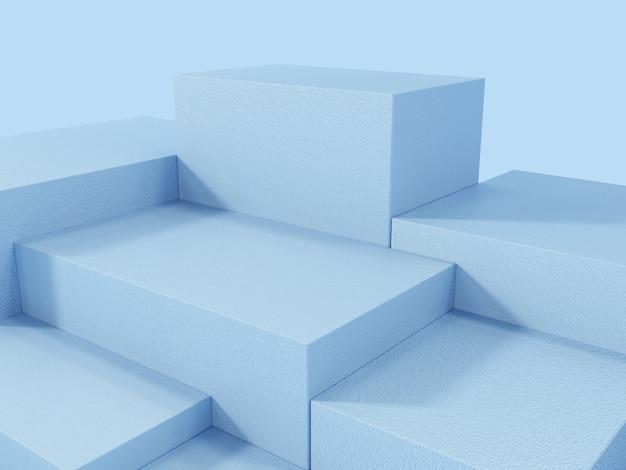 Podio de visualización de producto azul, fondo abstracto